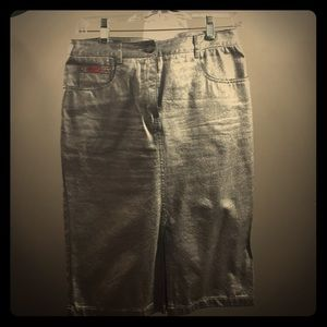 BCBG Max Azria Metallic Silver Pencil Skirt!
